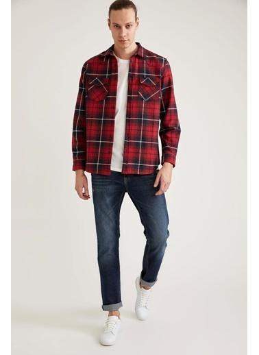 DeFacto Kareli Uzun Kollu Regular Fit Oduncu Gömlek Kırmızı